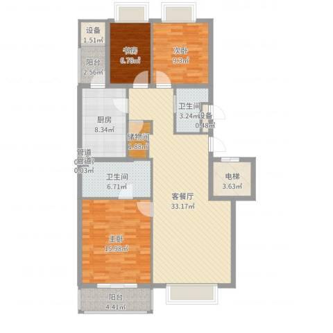 山水文园一期3室2厅2卫1厨123.00㎡户型图