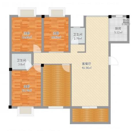 海滨壹号3室2厅2卫1厨139.00㎡户型图
