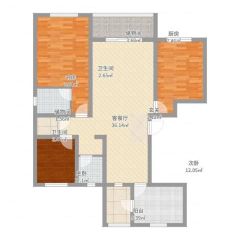 水岸华庭3室2厅2卫1厨139.00㎡户型图