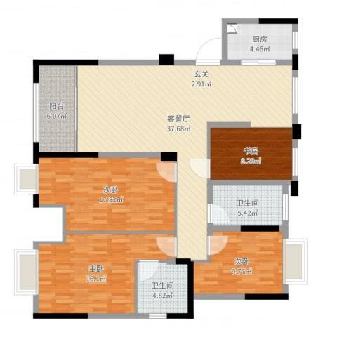 中央公馆4室2厅2卫1厨138.00㎡户型图
