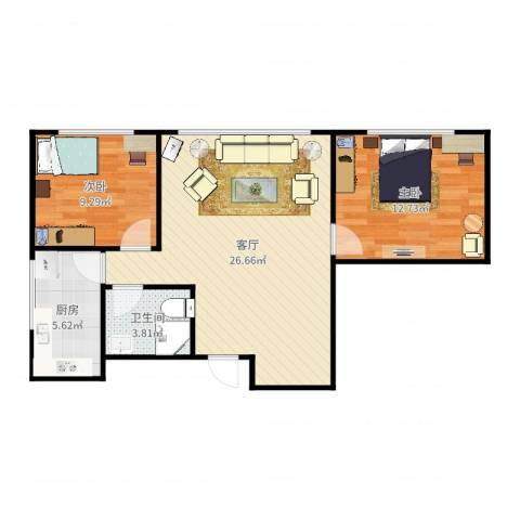 都会轩2-37062室1厅1卫1厨73.00㎡户型图