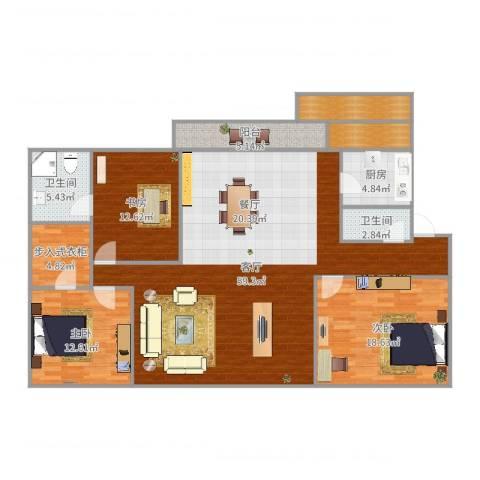 明湖花园3室1厅2卫1厨166.00㎡户型图