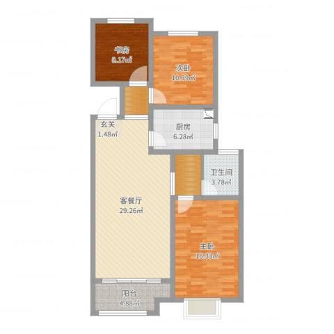 安泰・未来城3室2厅1卫1厨105.00㎡户型图