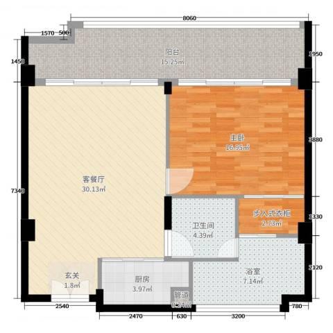 雨润・水视界1室2厅1卫1厨101.00㎡户型图