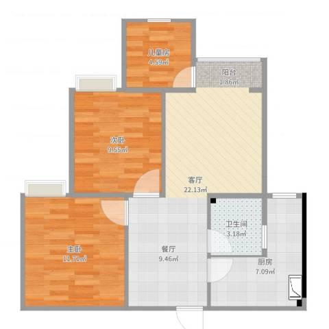 杨公桥3室1厅1卫1厨73.00㎡户型图