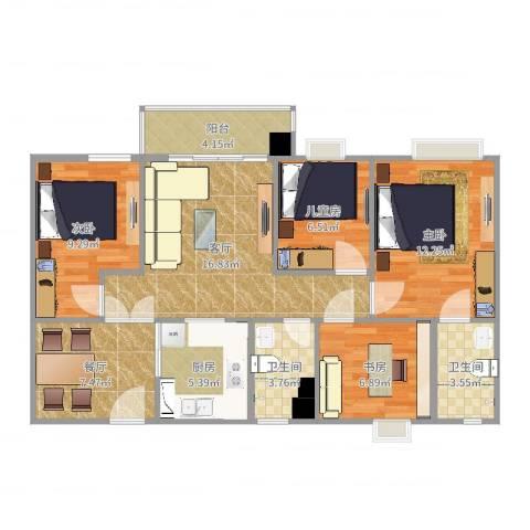 悦涛雅苑4室2厅2卫1厨95.00㎡户型图