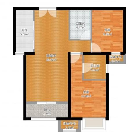 燕京航城2室2厅2卫1厨88.00㎡户型图