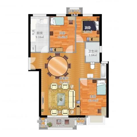 燕京航城3室2厅1卫1厨121.00㎡户型图