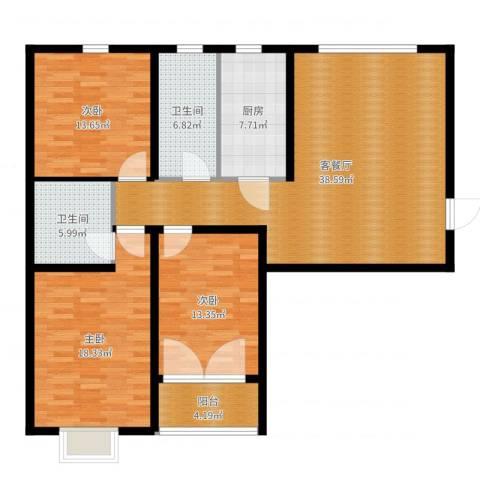 宝林大东关颐景园3室2厅2卫1厨136.00㎡户型图