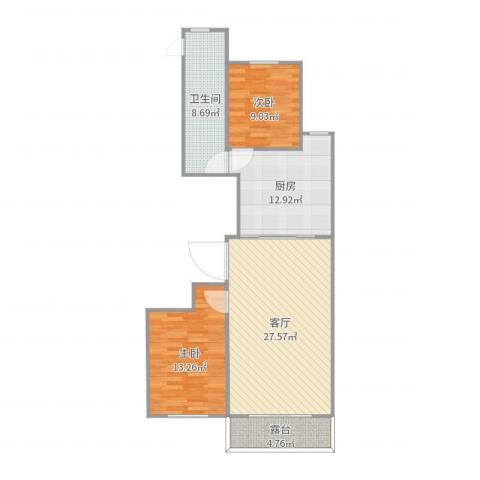 佳地花园二期2室1厅1卫1厨95.00㎡户型图