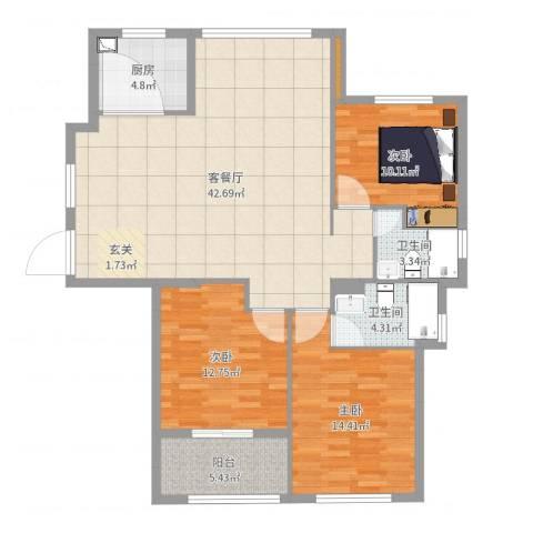 蔚蓝国际3室2厅2卫1厨123.00㎡户型图