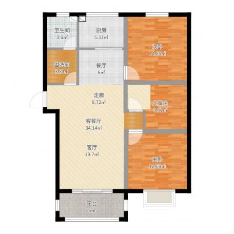 玉泉华庭3室2厅1卫1厨111.00㎡户型图