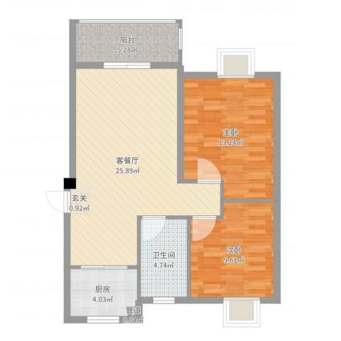 鼎邦家和园2室2厅1卫1厨79.00㎡户型图