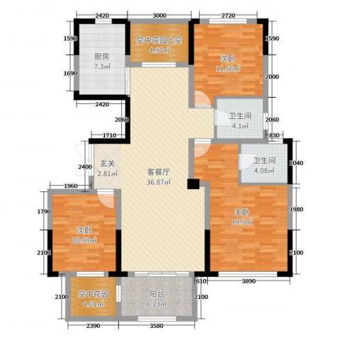 大地香漓湾3室2厅2卫1厨137.00㎡户型图