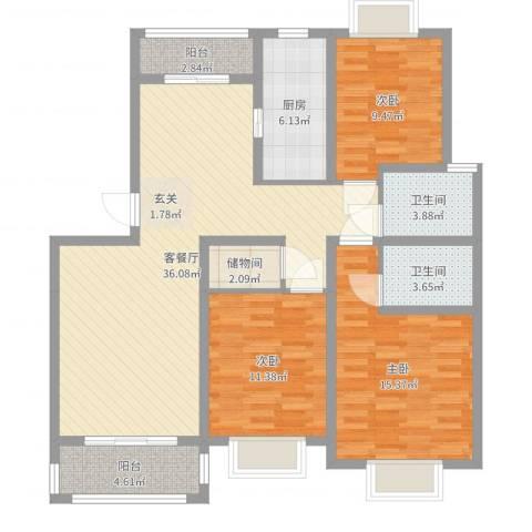 泰晤士小镇公寓3室2厅2卫1厨119.00㎡户型图