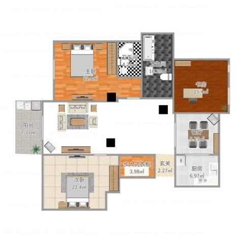 碧水莲晴三期2室1厅2卫1厨117.00㎡户型图