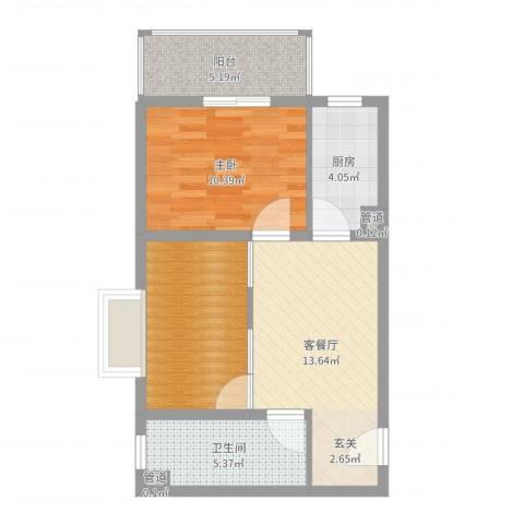 蓝岛书香苑1室2厅1卫1厨60.00㎡户型图