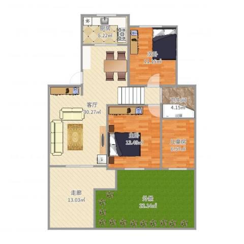 银泰花园别墅3室1厅1卫1厨133.00㎡户型图