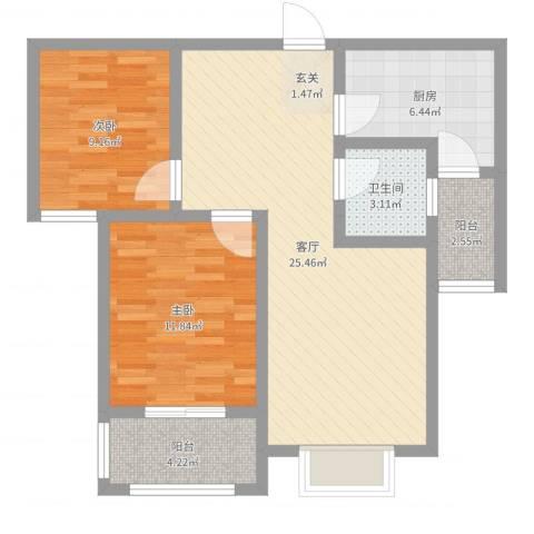 明日星城二期-臻庭2室1厅1卫1厨78.00㎡户型图