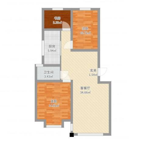 东城水岸3室2厅1卫1厨94.00㎡户型图