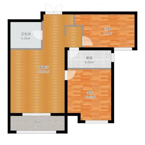 K2·京南狮子城2室2厅1卫1厨108.00㎡户型图