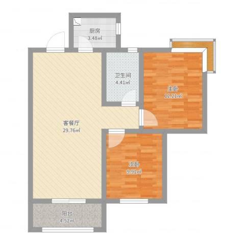 碧玺华庭2室2厅1卫1厨82.00㎡户型图