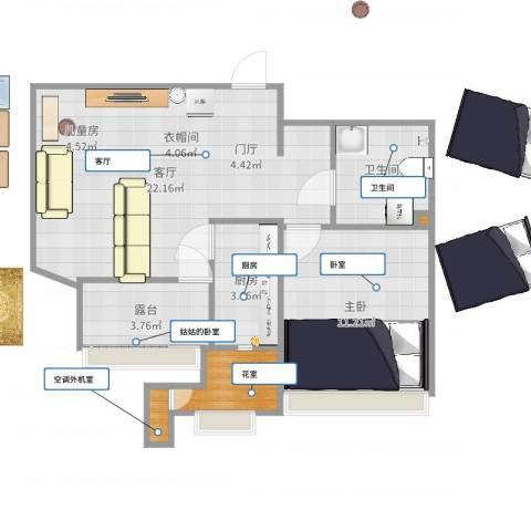 小镇西西里1室1厅1卫1厨60.00㎡户型图