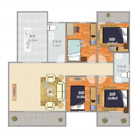 建发花园4室1厅2卫1厨201.00㎡户型图