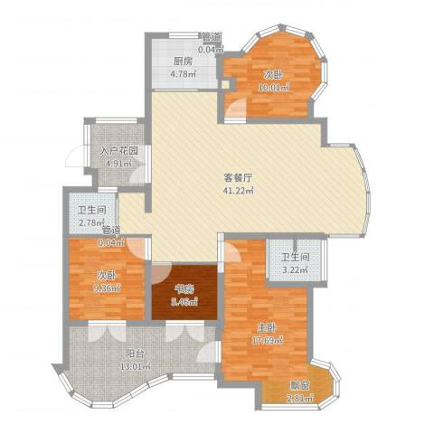 国际华城三期4室2厅2卫1厨141.00㎡户型图
