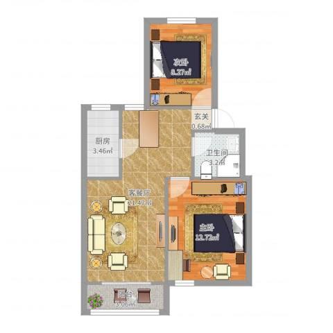 金杨新村三街坊2室2厅1卫1厨65.00㎡户型图