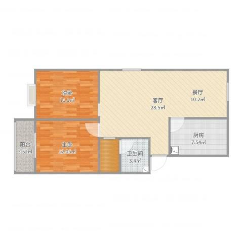 天鸿世纪城2室1厅1卫1厨86.00㎡户型图