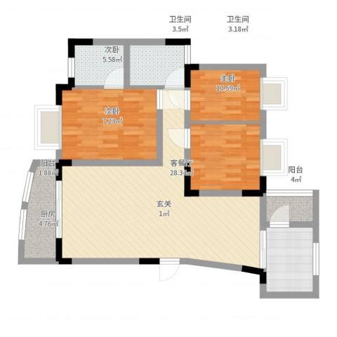 都市花园3室2厅2卫1厨86.00㎡户型图