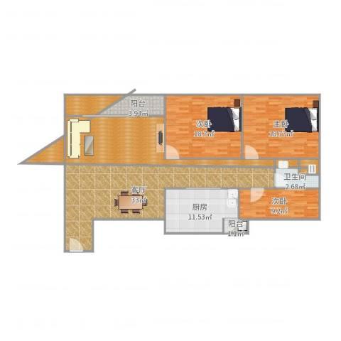 顺联新城花园3室1厅1卫1厨159.00㎡户型图