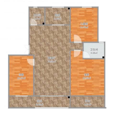 御窑花园3室2厅2卫1厨127.00㎡户型图
