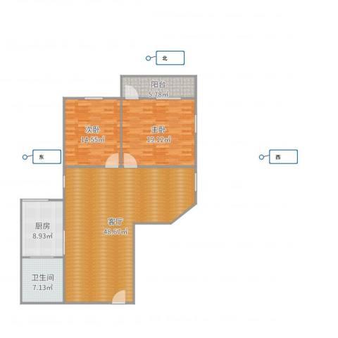 海印花园2室1厅1卫1厨130.00㎡户型图
