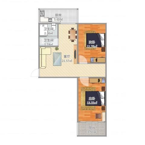 老屯铁路小区2室1厅2卫1厨75.00㎡户型图