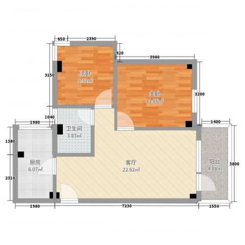金宇花园2室1厅1卫1厨72.00㎡户型图