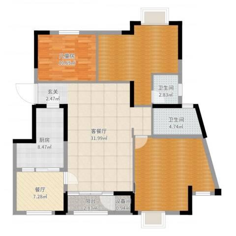 柏涟温莎名苑1室3厅2卫1厨133.00㎡户型图