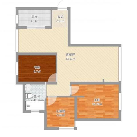 浦江馨都3室2厅1卫1厨90.00㎡户型图
