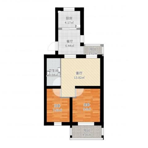 郁花园一里2室2厅1卫1厨64.00㎡户型图