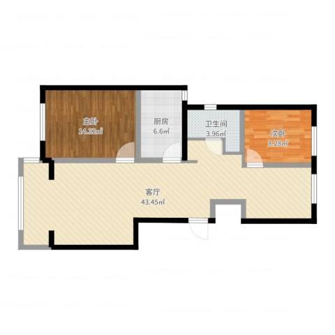 保利拉菲公馆2室1厅1卫1厨96.00㎡户型图