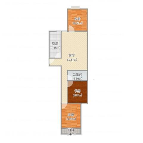 顺祥新区3室1厅1卫1厨98.00㎡户型图