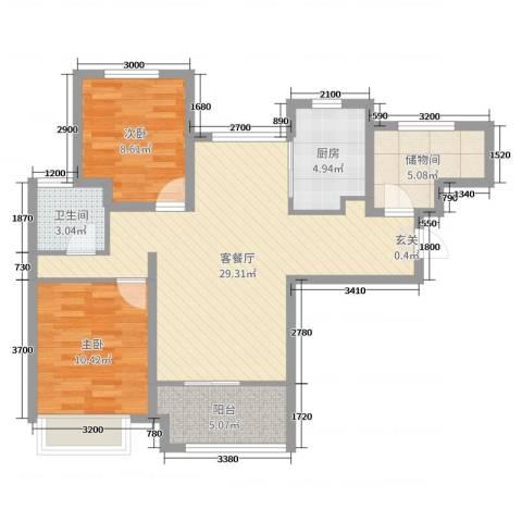 潮白河孔雀城剑桥郡2室2厅1卫1厨83.00㎡户型图