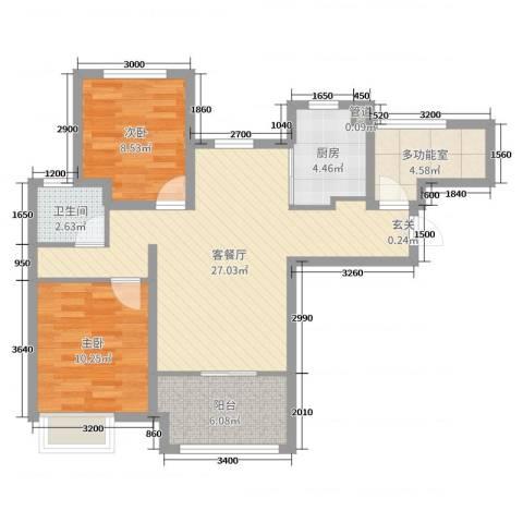 潮白河孔雀城剑桥郡2室2厅1卫1厨80.00㎡户型图