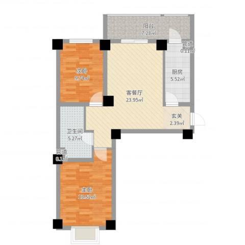海唐南寒圣都2室2厅1卫1厨82.00㎡户型图