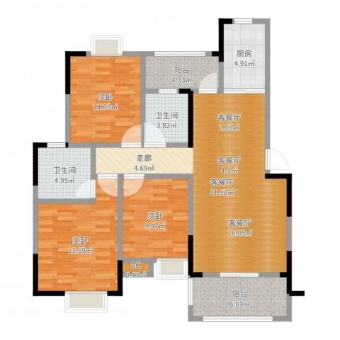 善德山庄3室2厅2卫1厨114.00㎡户型图