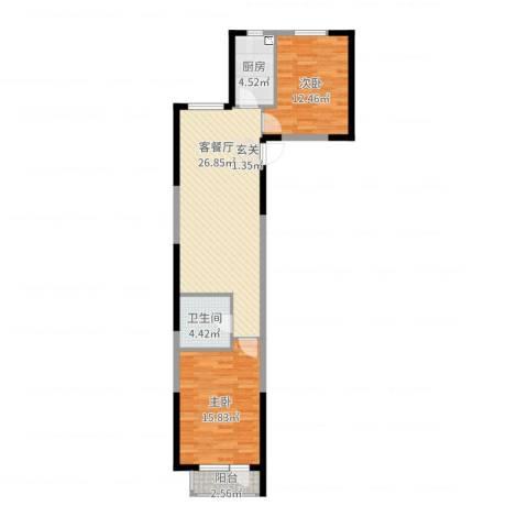 首创悦树汇2室2厅1卫1厨83.00㎡户型图