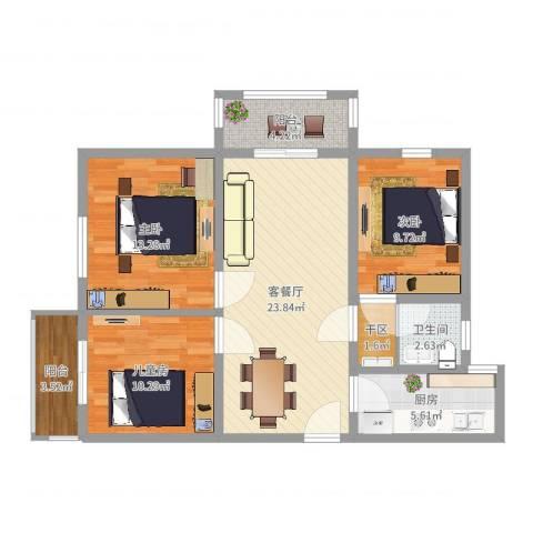 德惠・尚书房3室2厅2卫1厨93.00㎡户型图
