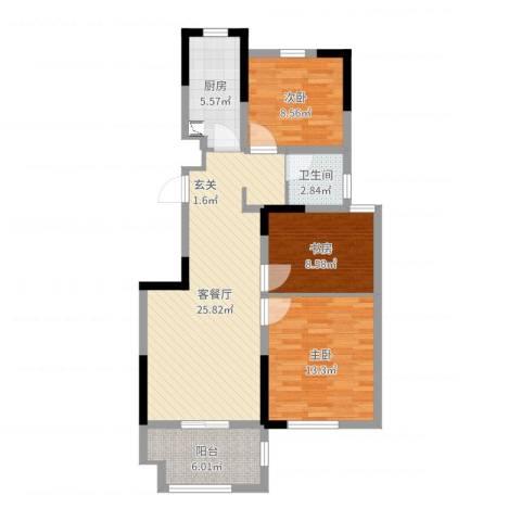 德惠尚书房3室2厅1卫1厨88.00㎡户型图