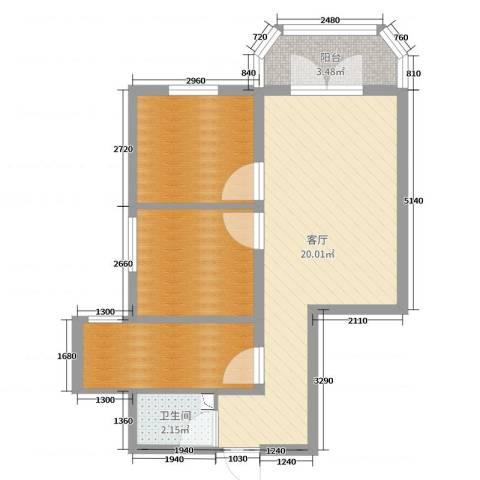 枣营北里1厅1卫0厨57.00㎡户型图